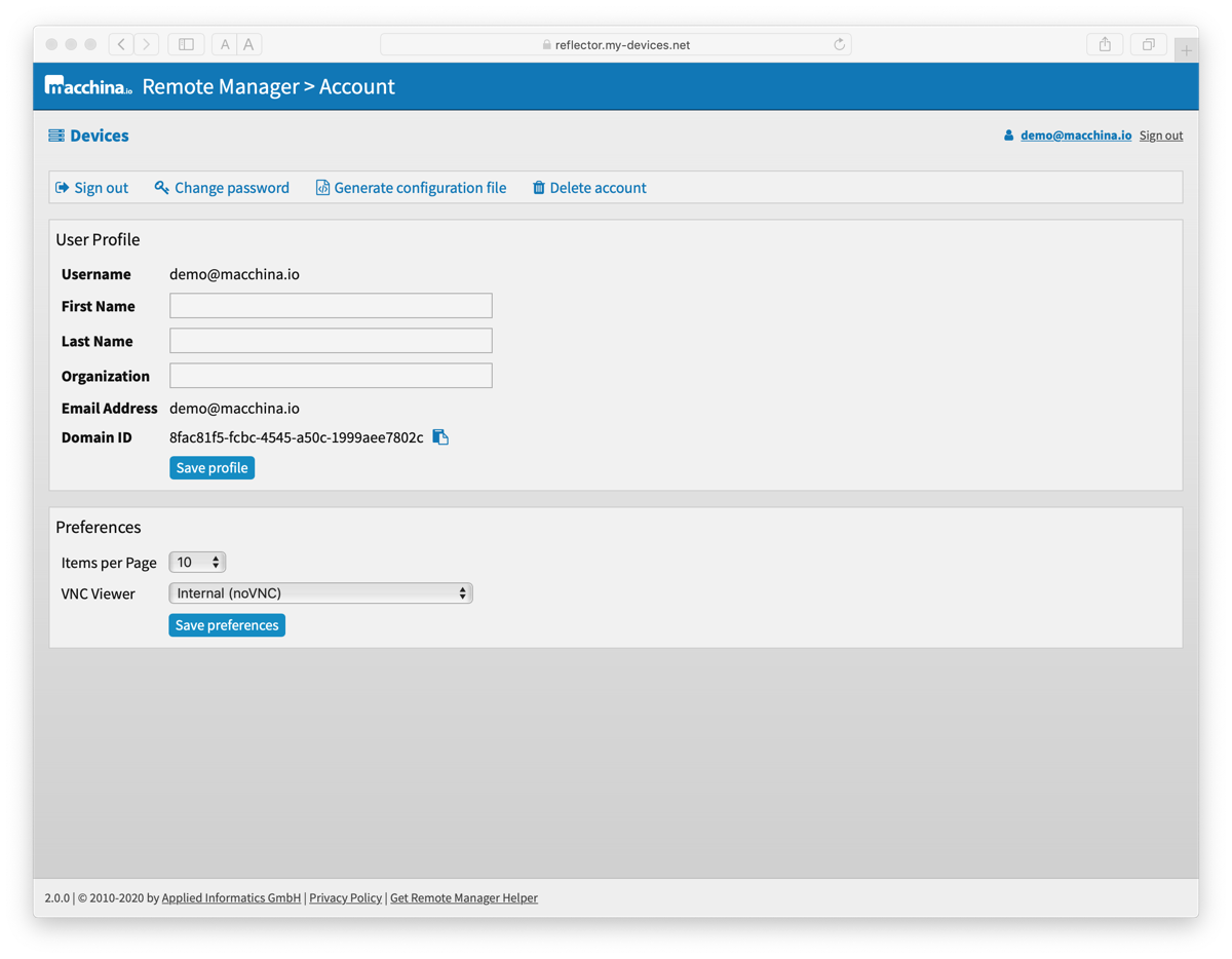 macchina io Remote Manager - Sign Up for a Free Account